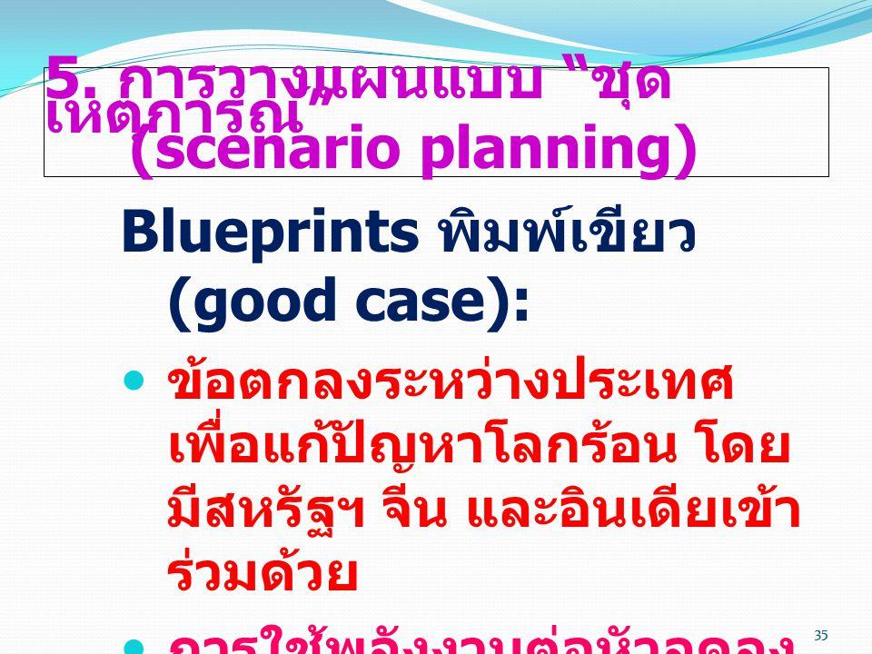 """35 5. การวางแผนแบบ """" ชุด เหตุการณ์ """" (scenario planning) Blueprints พิมพ์เขียว (good case):  ข้อตกลงระหว่างประเทศ เพื่อแก้ปัญหาโลกร้อน โดย มีสหรัฐฯ จ"""