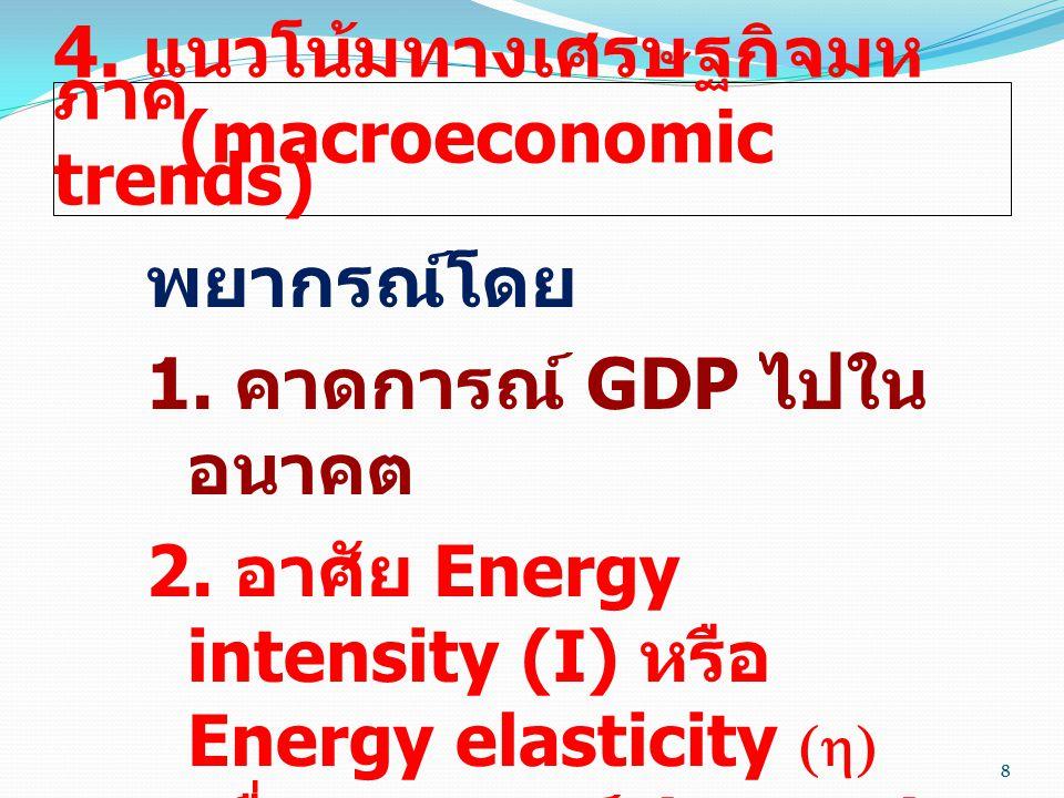 8 4. แนวโน้มทางเศรษฐกิจมห ภาค (macroeconomic trends) พยากรณ์โดย 1. คาดการณ์ GDP ไปใน อนาคต 2. อาศัย Energy intensity (I) หรือ Energy elasticity (  )