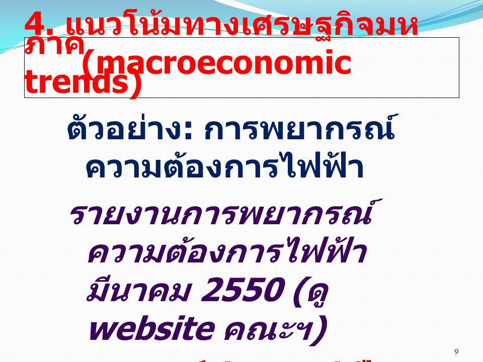 9 4. แนวโน้มทางเศรษฐกิจมห ภาค (macroeconomic trends) ตัวอย่าง : การพยากรณ์ ความต้องการไฟฟ้า รายงานการพยากรณ์ ความต้องการไฟฟ้า มีนาคม 2550 ( ดู website