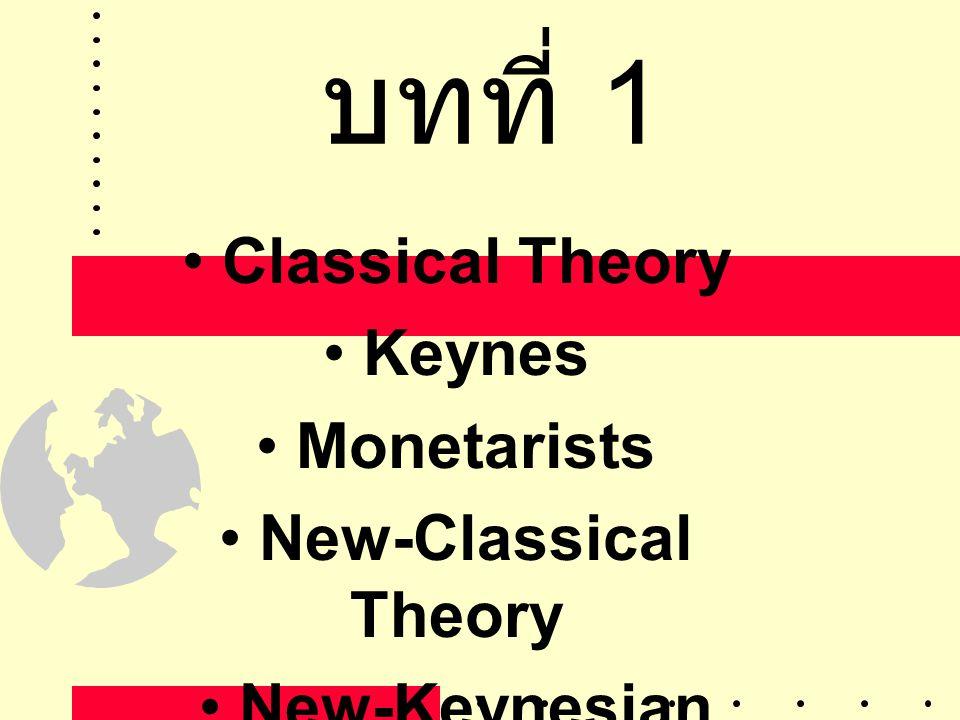 บทที่ 1 • Classical Theory • Keynes • Monetarists • New-Classical Theory • New-Keynesian Theory