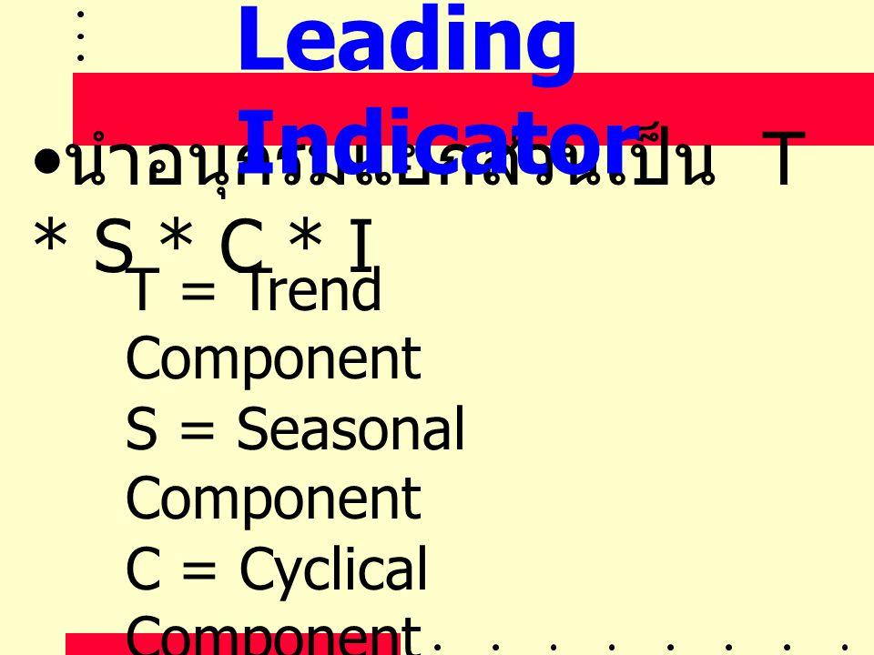 • นำอนุกรมแยกส่วนเป็น T * S * C * I T = Trend Component S = Seasonal Component C = Cyclical Component I = Irregular Component Leading Indicator