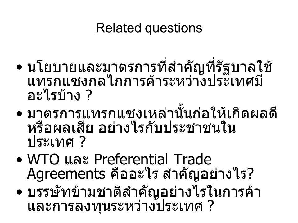 Related questions • นโยบายและมาตรการที่สำคัญที่รัฐบาลใช้ แทรกแซงกลไกการค้าระหว่างประเทศมี อะไรบ้าง ? • มาตรการแทรกแซงเหล่านั้นก่อให้เกิดผลดี หรือผลเสี