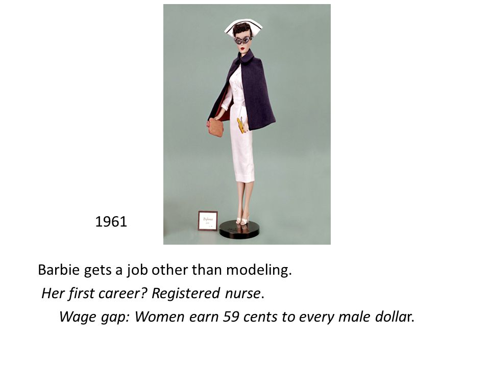 1961 Barbie gets a job other than modeling. Her first career.