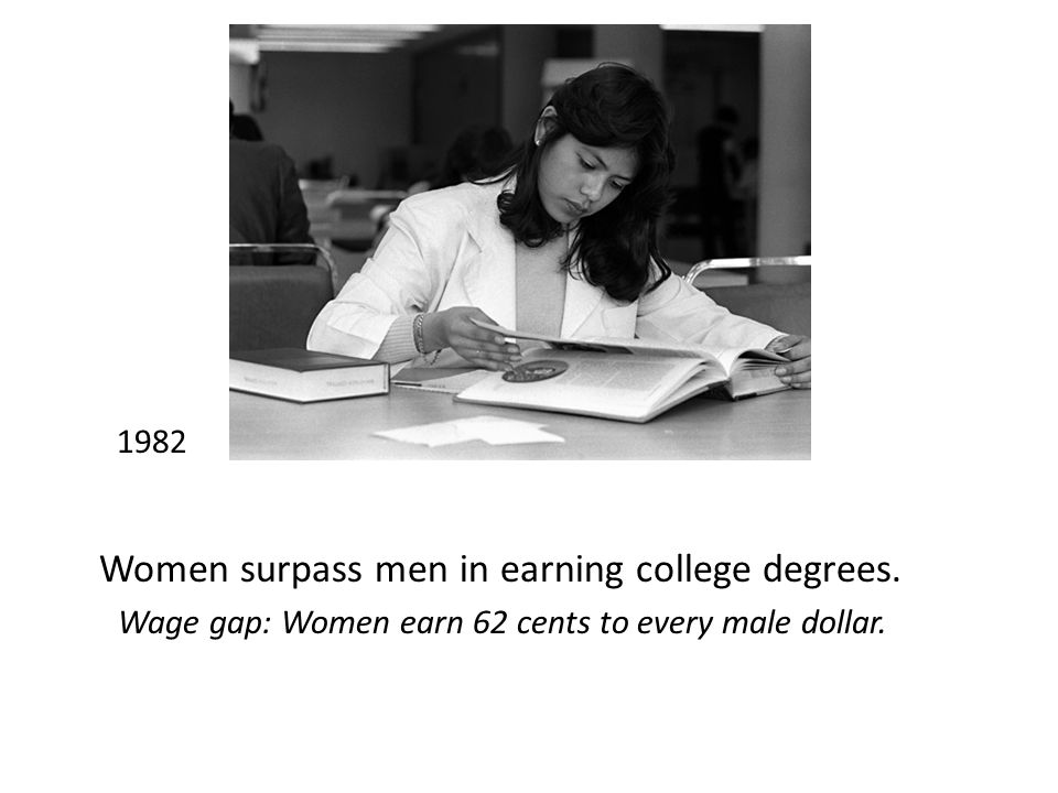1982 Women surpass men in earning college degrees.