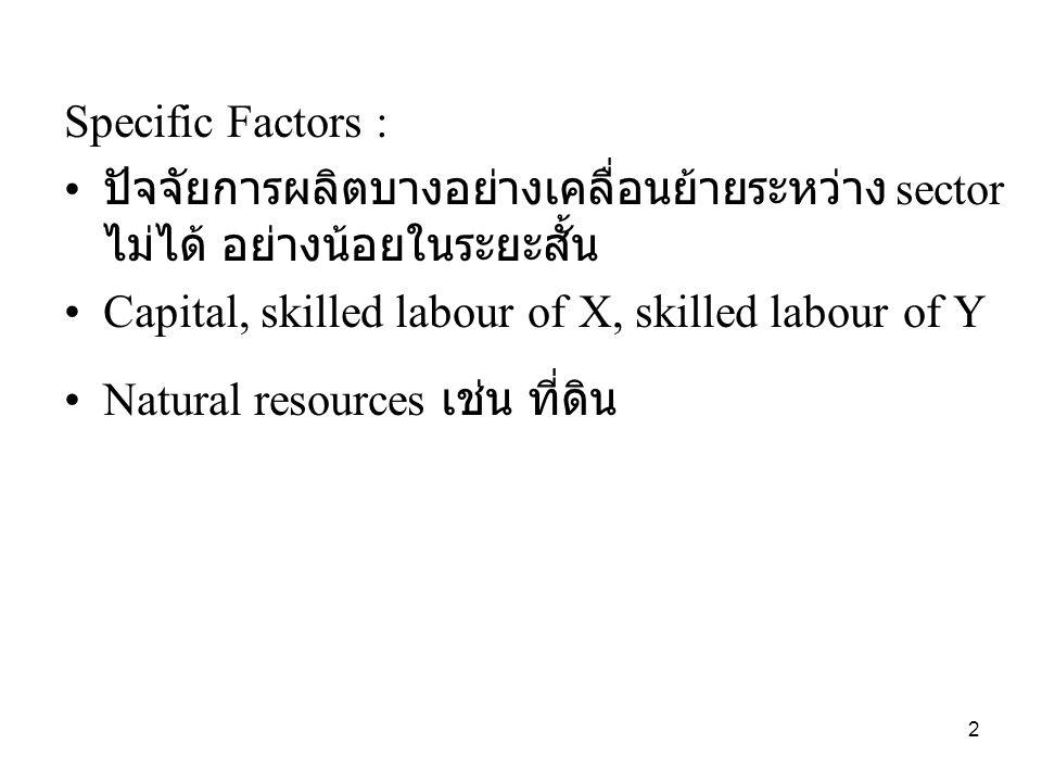 Specific Factors : • ปัจจัยการผลิตบางอย่างเคลื่อนย้ายระหว่าง sector ไม่ได้ อย่างน้อยในระยะสั้น •Capital, skilled labour of X, skilled labour of Y •Natural resources เช่น ที่ดิน 2
