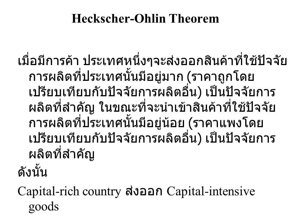 Heckscher-Ohlin Theorem เมื่อมีการค้า ประเทศหนึ่งๆจะส่งออกสินค้าที่ใช้ปัจจัย การผลิตที่ประเทศนั้นมีอยู่มาก ( ราคาถูกโดย เปรียบเทียบกับปัจจัยการผลิตอื่