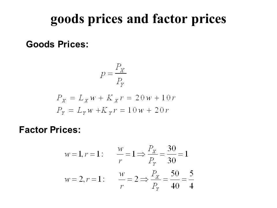 goods prices and factor prices Goods Prices: Factor Prices: