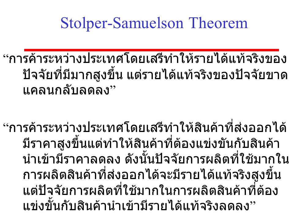 """Stolper-Samuelson Theorem """" การค้าระหว่างประเทศโดยเสรีทำให้รายได้แท้จริงของ ปัจจัยที่มีมากสูงขึ้น แต่รายได้แท้จริงของปัจจัยขาด แคลนกลับลดลง """" """" การค้า"""