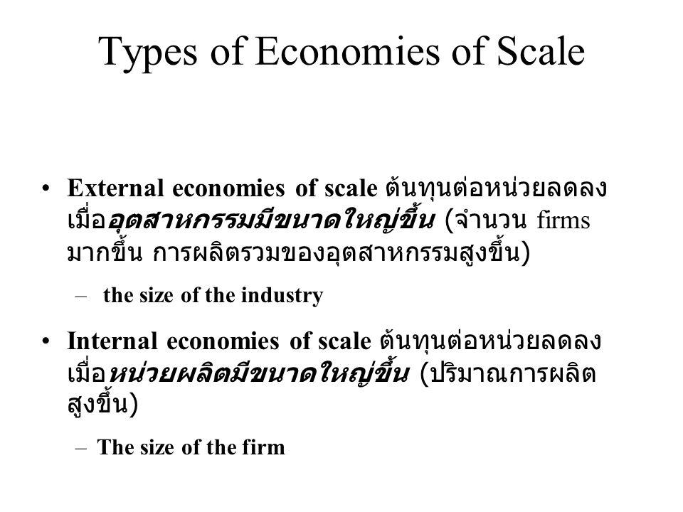 Types of Economies of Scale •External economies of scale ต้นทุนต่อหน่วยลดลง เมื่ออุตสาหกรรมมีขนาดใหญ่ขึ้น ( จำนวน firms มากขึ้น การผลิตรวมของอุตสาหกรร