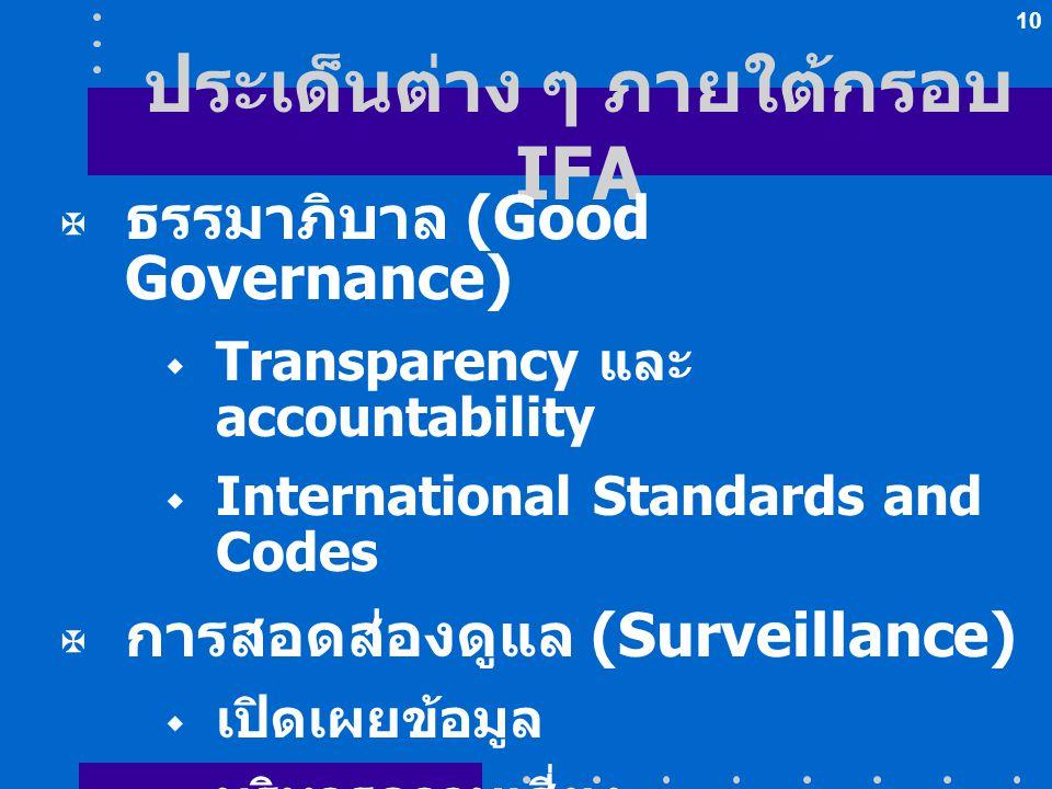10 ประเด็นต่าง ๆ ภายใต้กรอบ IFA  ธรรมาภิบาล (Good Governance)  Transparency และ accountability  International Standards and Codes  การสอดส่องดูแล