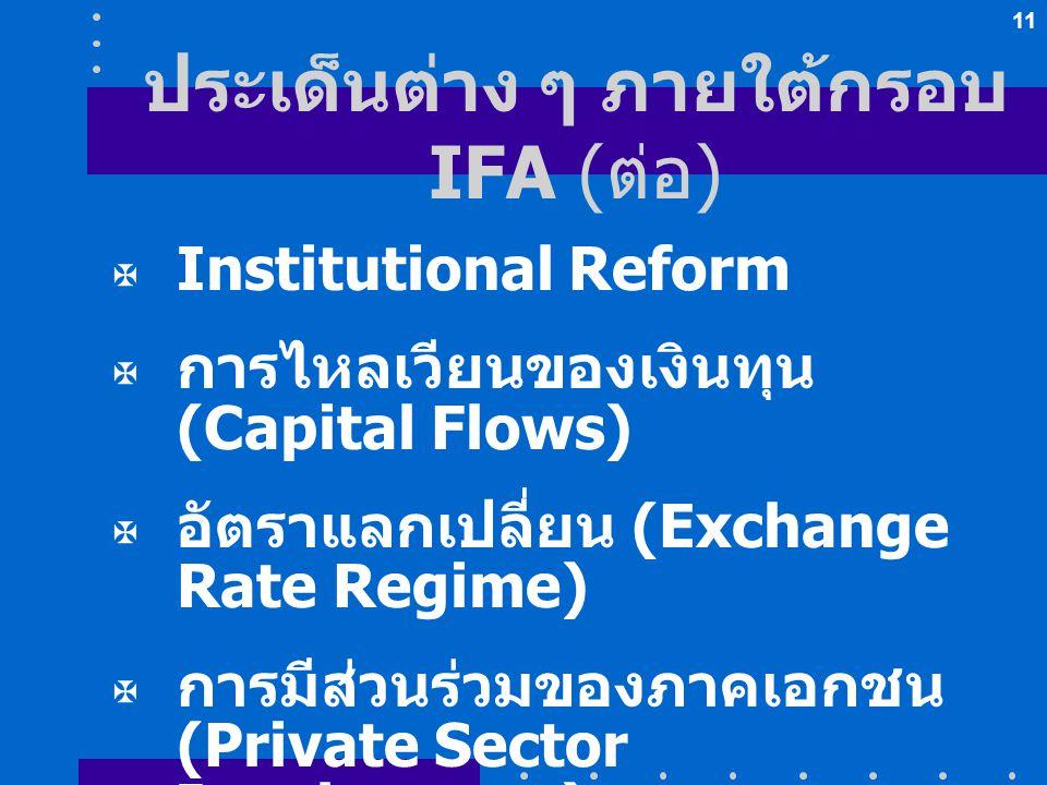 11 ประเด็นต่าง ๆ ภายใต้กรอบ IFA ( ต่อ )  Institutional Reform  การไหลเวียนของเงินทุน (Capital Flows)  อัตราแลกเปลี่ยน (Exchange Rate Regime)  การม