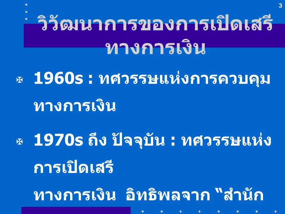 """3 วิวัฒนาการของการเปิดเสรี ทางการเงิน  1960s : ทศวรรษแห่งการควบคุม ทางการเงิน  1970s ถึง ปัจจุบัน : ทศวรรษแห่ง การเปิดเสรี ทางการเงิน อิทธิพลจาก """" ส"""