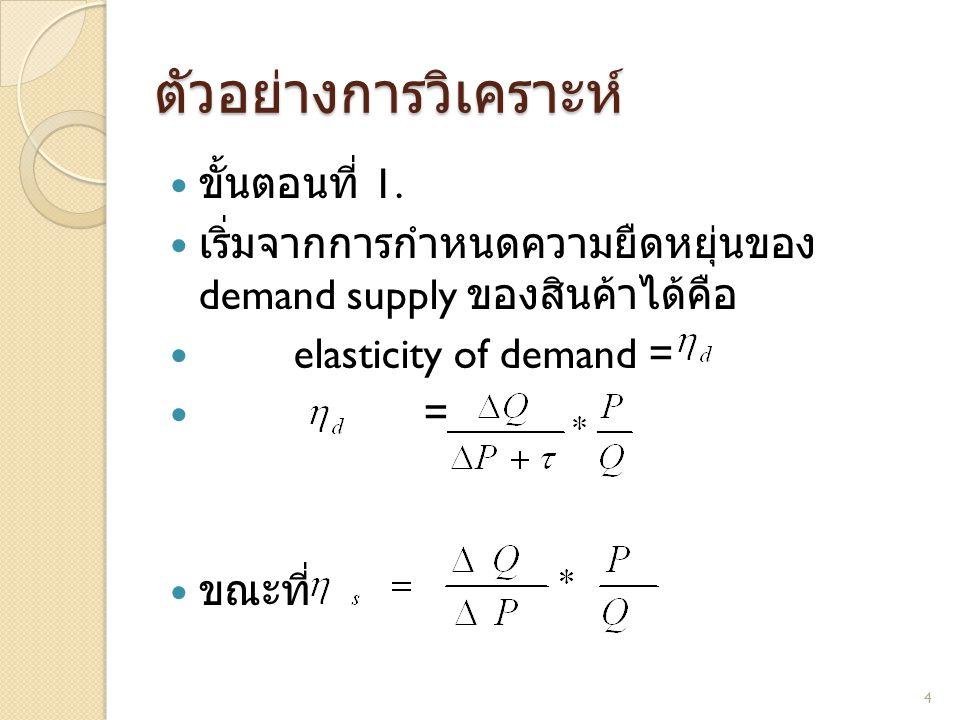  ขั้นตอนที่ 1.  เริ่มจากการกำหนดความยืดหยุ่นของ demand supply ของสินค้าได้คือ  elasticity of demand =  =  ขณะที่ ตัวอย่างการวิเคราะห์ 4