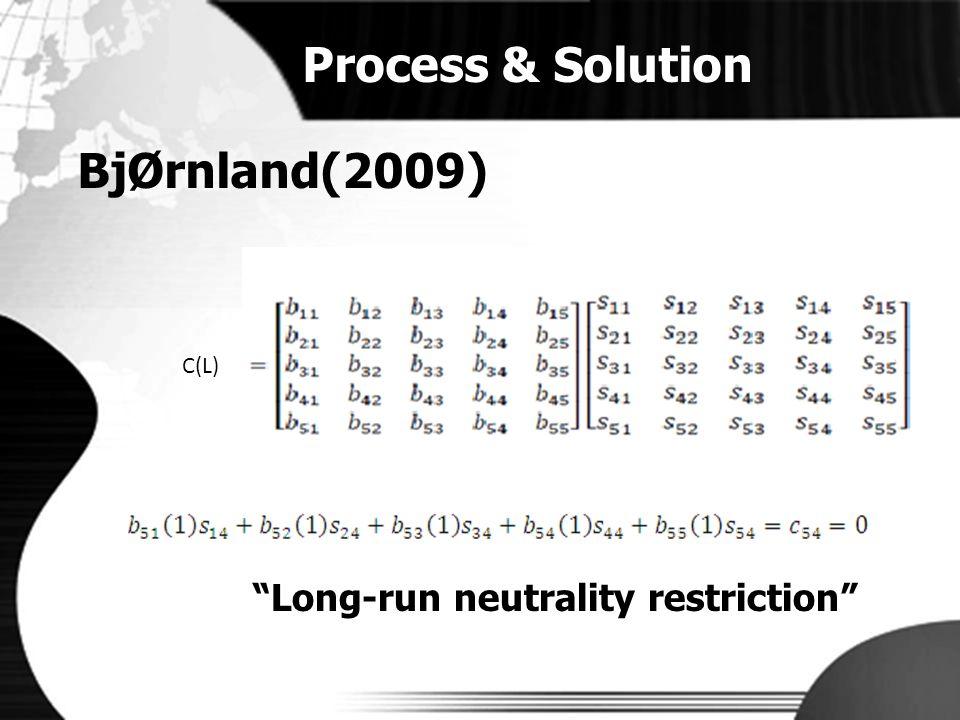 "Process & Solution BjØrnland(2009) C(L) ""Long-run neutrality restriction"""
