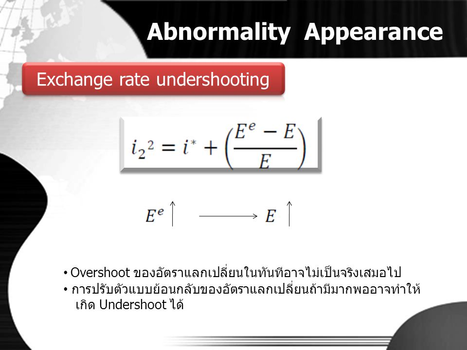 Abnormality Appearance • Overshoot ของอัตราแลกเปลี่ยนในทันทีอาจไม่เป็นจริงเสมอไป • การปรับตัวแบบย้อนกลับของอัตราแลกเปลี่ยนถ้ามีมากพออาจทำให้ เกิด Unde