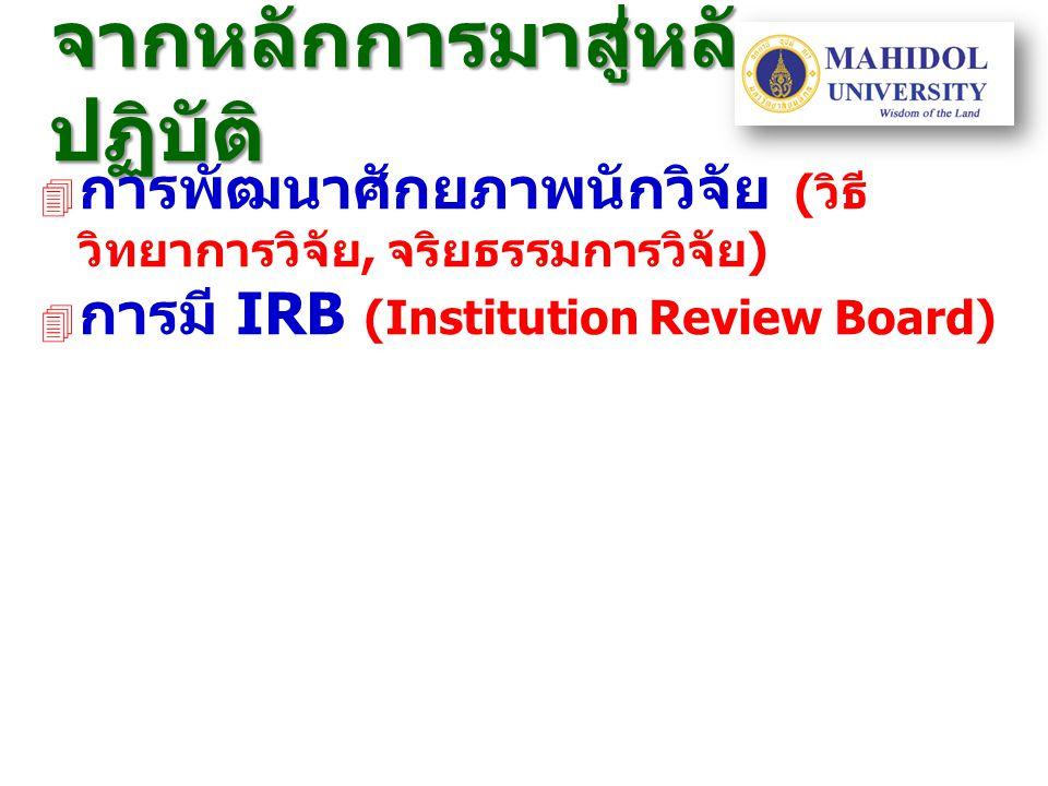 จากหลักการมาสู่หลัก ปฏิบัติ  การพัฒนาศักยภาพนักวิจัย ( วิธี วิทยาการวิจัย, จริยธรรมการวิจัย )  การมี IRB (Institution Review Board)