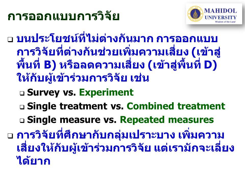 การออกแบบการวิจัย   บนประโยชน์ที่ไม่ต่างกันมาก การออกแบบ การวิจัยที่ต่างกันช่วยเพิ่มความเสี่ยง (เข้าสู่ พื้นที่ B) หรือลดความเสี่ยง (เข้าสู่พื้นที่ D) ให้กับผู้เข้าร่วมการวิจัย เช่น   Survey vs.