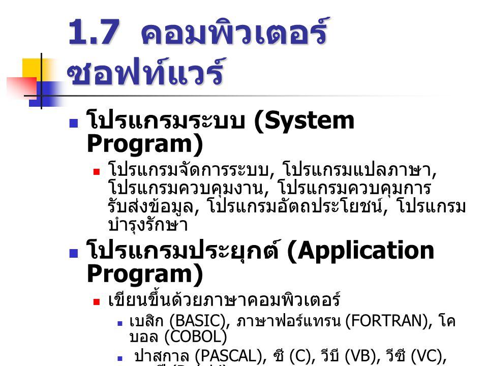 1.7 คอมพิวเตอร์ ซอฟท์แวร์  โปรแกรมระบบ (System Program)  โปรแกรมจัดการระบบ, โปรแกรมแปลภาษา, โปรแกรมควบคุมงาน, โปรแกรมควบคุมการ รับส่งข้อมูล, โปรแกรมอัตถประโยชน์, โปรแกรม บำรุงรักษา  โปรแกรมประยุกต์ (Application Program)  เขียนขึ้นด้วยภาษาคอมพิวเตอร์  เบสิก (BASIC), ภาษาฟอร์แทรน (FORTRAN), โค บอล (COBOL)  ปาสกาล (PASCAL), ซี (C), วีบี (VB), วีซี (VC), เดลฟี (Delphi)  โปรแกรมในสำนักงาน, การทำบัญชี, การ ลงทะเบียน, งานวิจัย เป็นต้น