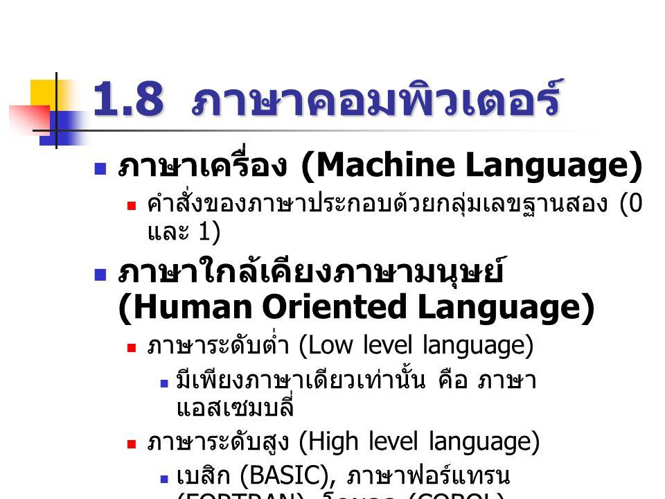 1.8 ภาษาคอมพิวเตอร์  ภาษาเครื่อง (Machine Language)  คำสั่งของภาษาประกอบด้วยกลุ่มเลขฐานสอง (0 และ 1)  ภาษาใกล้เคียงภาษามนุษย์ (Human Oriented Language)  ภาษาระดับต่ำ (Low level language)  มีเพียงภาษาเดียวเท่านั้น คือ ภาษา แอสเซมบลี่  ภาษาระดับสูง (High level language)  เบสิก (BASIC), ภาษาฟอร์แทรน (FORTRAN), โคบอล (COBOL)  ปาสกาล (PASCAL), ซี (C), วีบี (VB), วีซี (VC), เดลฟี (Delphi)