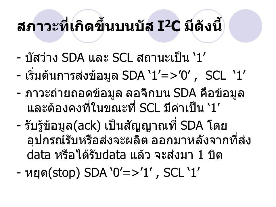 สภาวะที่เกิดขึ้นบนบัส I 2 C มีดังนี้ - บัสว่าง SDA และ SCL สถานะเป็น '1' - เริ่มต้นการส่งข้อมูล SDA '1'=>'0', SCL '1' - ภาวะถ่ายถอดข้อมูล ลอจิกบน SDA