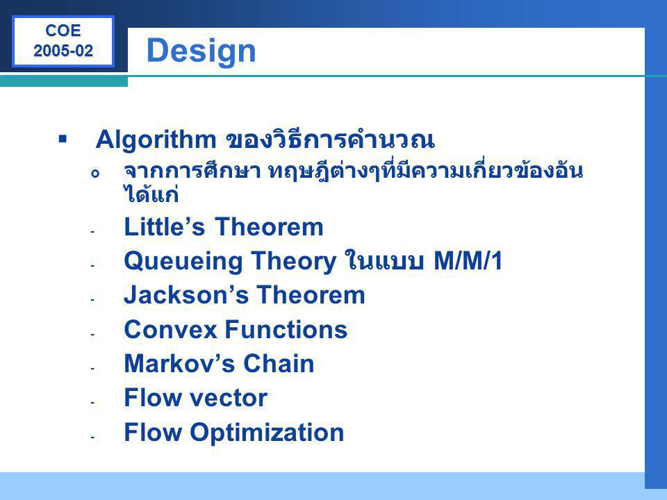 Company LOGO Design  Algorithm ของวิธีการคำนวณ  จากการศึกษา ทฤษฎีต่างๆที่มีความเกี่ยวข้องอัน ได้แก่ - Little's Theorem - Queueing Theory ในแบบ M/M/1
