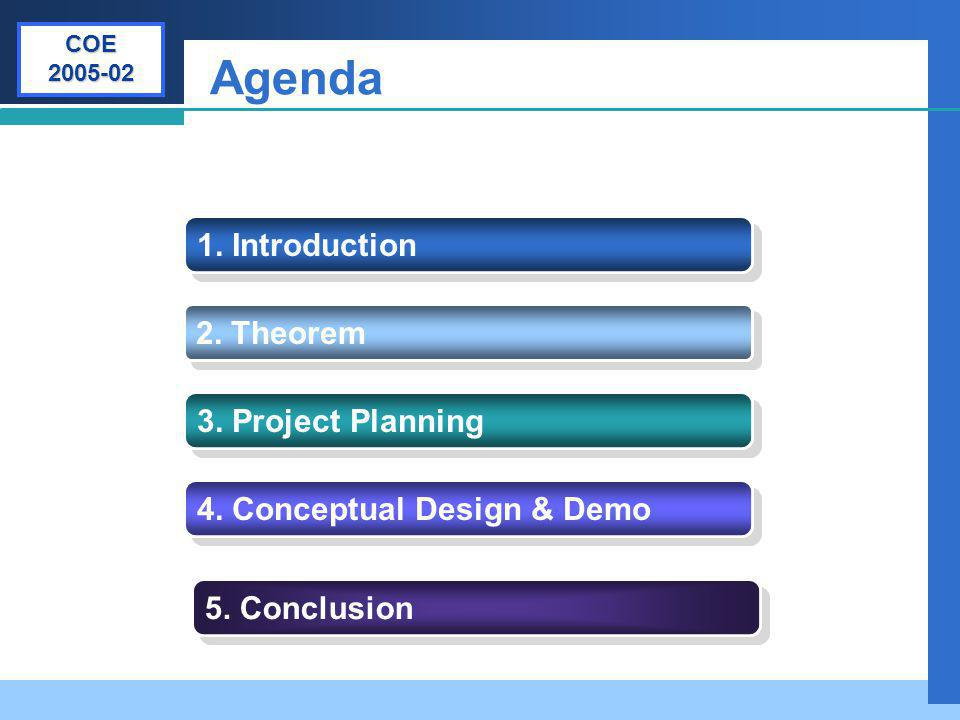Company LOGO Agenda 1. Introduction 2. Theorem 3. Project Planning 4. Conceptual Design & Demo 5. Conclusion COE 2005-02