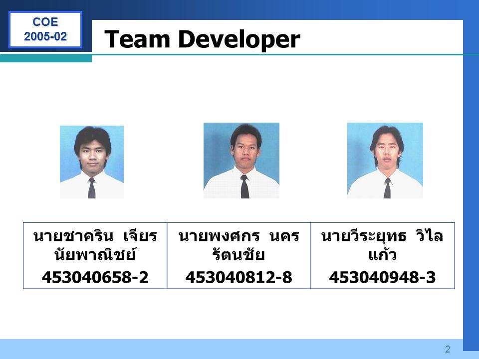 Company LOGO 2 Team Developer นายชาคริน เจียร นัยพาณิชย์ 453040658-2 นายพงศกร นคร รัตนชัย 453040812-8 นายวีระยุทธ วิไล แก้ว 453040948-3 COE 2005-02