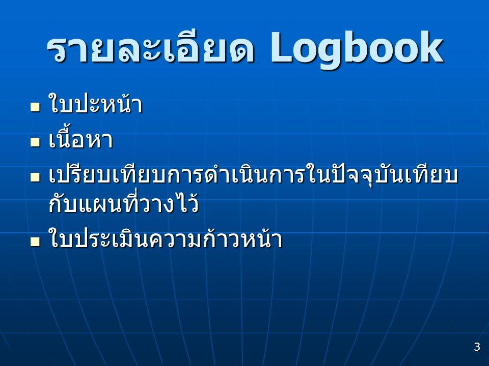 3 รายละเอียด Logbook  ใบปะหน้า  เนื้อหา  เปรียบเทียบการดำเนินการในปัจจุบันเทียบ กับแผนที่วางไว้  ใบประเมินความก้าวหน้า