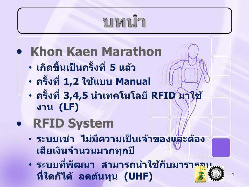 • Khon Kaen Marathon • เกิดขึ้นเป็นครั้งที่ 5 แล้ว • ครั้งที่ 1,2 ใช้แบบ Manual • ครั้งที่ 3,4,5 นำเทคโนโลยี RFID มาใช้ งาน (LF) • RFID System • ระบบเ