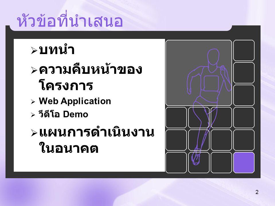 หัวข้อที่นำเสนอ  บทนำ  ความคืบหน้าของ โครงการ  Web Application  วีดีโอ Demo  แผนการดำเนินงาน ในอนาคต 2
