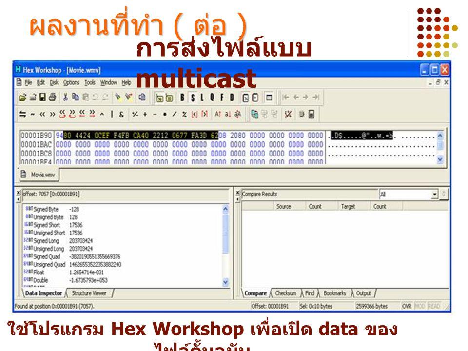การส่งไฟล์แบบ multicast ผลงานที่ทำ ( ต่อ ) ใช้โปรแกรม Hex Workshop เพื่อเปิด data ของ ไฟล์ตั้นฉบับ