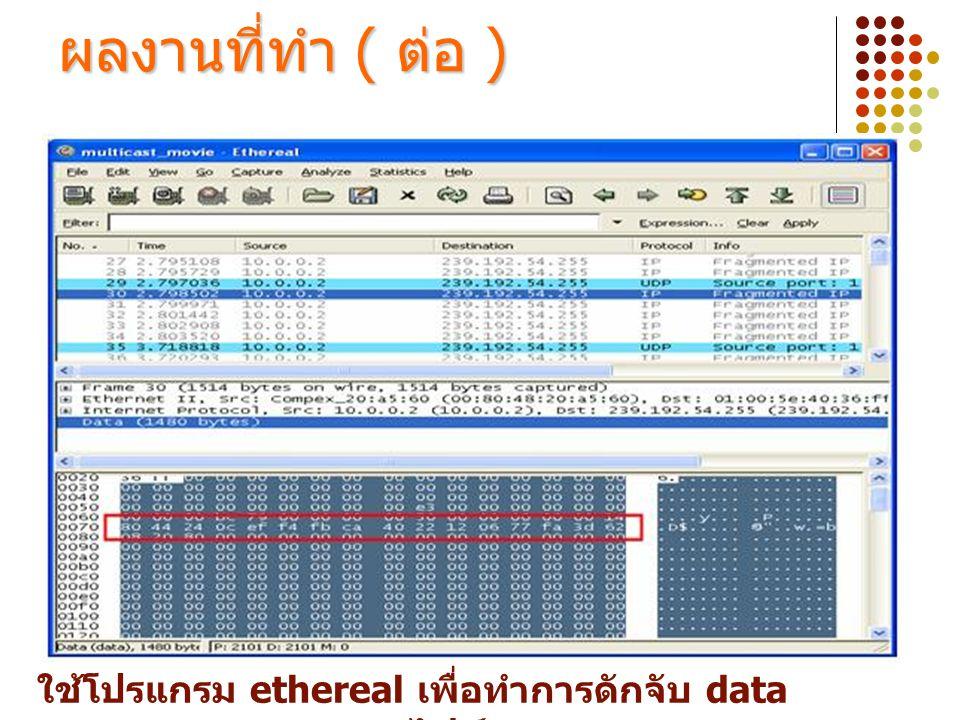 ใช้โปรแกรม ethereal เพื่อทำการดักจับ data ของไฟล์ ผลงานที่ทำ ( ต่อ )