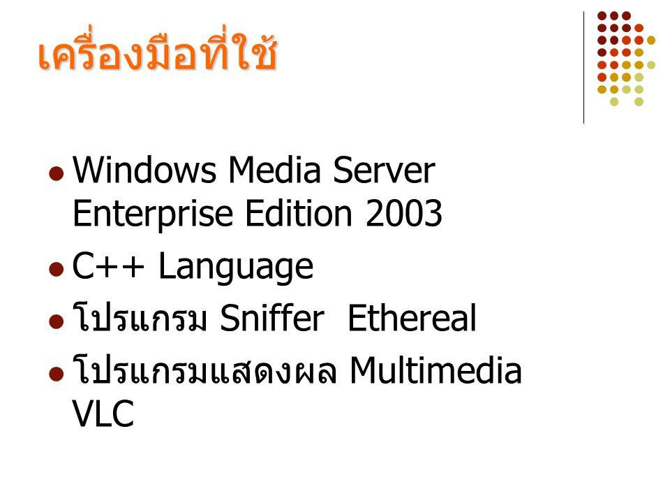 เครื่องมือที่ใช้  Windows Media Server Enterprise Edition 2003  C++ Language  โปรแกรม Sniffer Ethereal  โปรแกรมแสดงผล Multimedia VLC