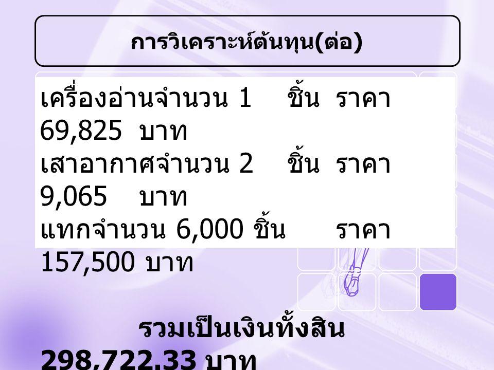เครื่องอ่านจำนวน 1 ชิ้นราคา 69,825 บาท เสาอากาศจำนวน 2 ชิ้นราคา 9,065 บาท แทกจำนวน 6,000 ชิ้นราคา 157,500 บาท รวมเป็นเงินทั้งสิน 298,722.33 บาท