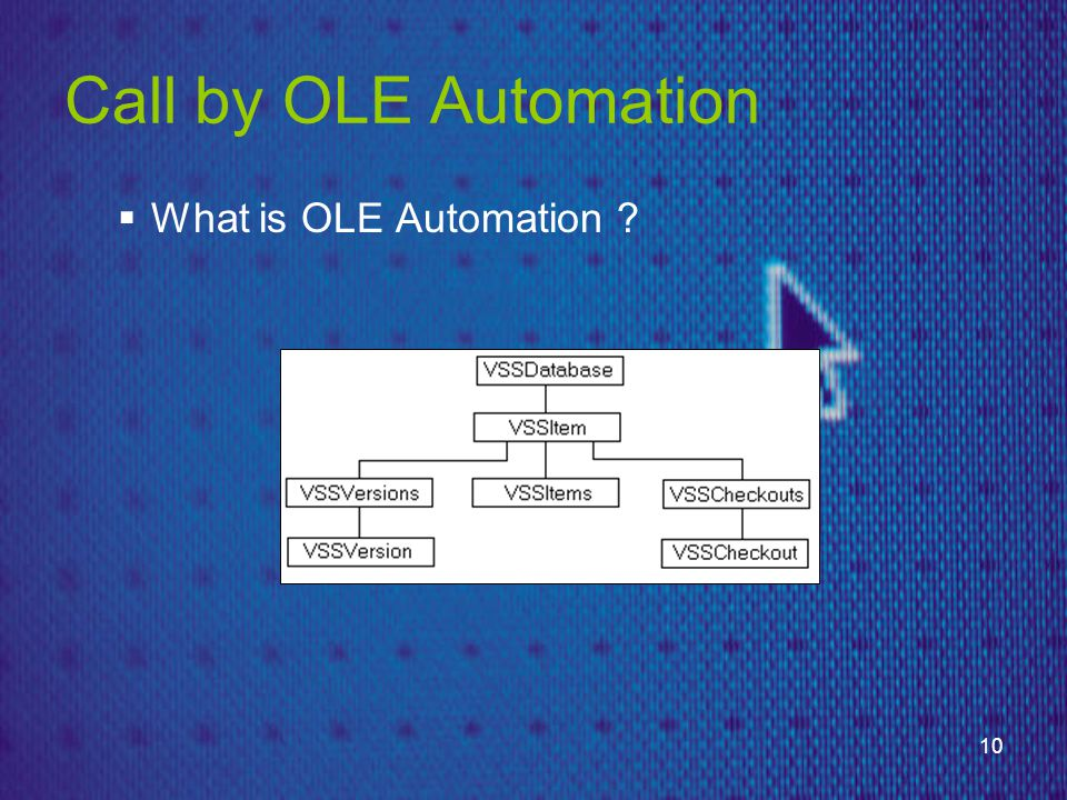 10 Call by OLE Automation  What is OLE Automation ?