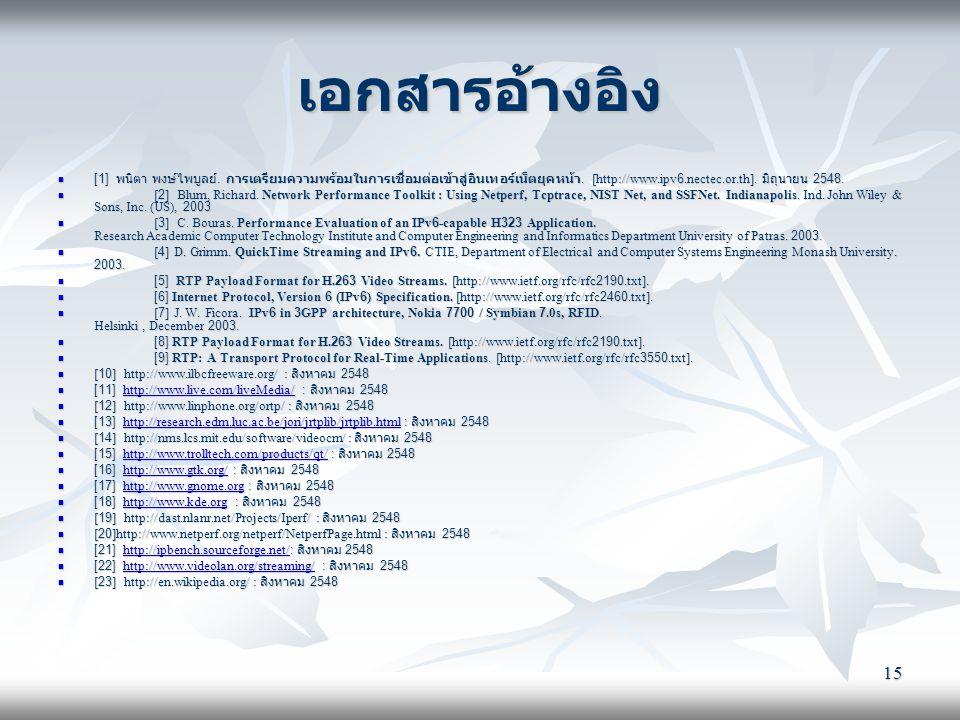 15 เอกสารอ้างอิง  [1] พนิตา พงษ์ไพบูลย์. การเตรียมความพร้อมในการเชื่อมต่อเข้าสู่อินเทอร์เน็ตยุคหน้า. [http://www.ipv6.nectec.or.th]. มิถุนายน 2548. 