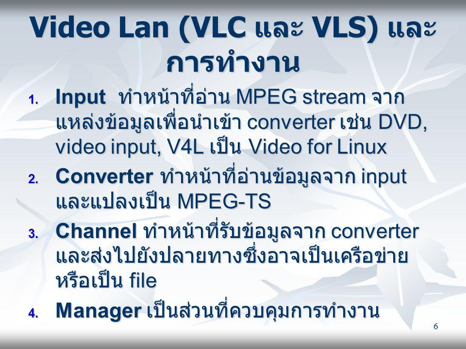6 Video Lan (VLC และ VLS) และ การทำงาน  Input ทำหน้าที่อ่าน MPEG stream จาก แหล่งข้อมูลเพื่อนำเข้า converter เช่น DVD, video input, V4L เป็น Video f