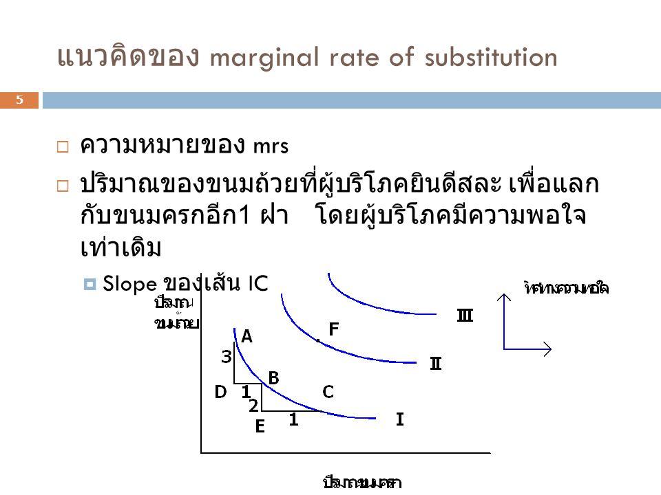แนวคิดของ marginal rate of substitution 5  ความหมายของ mrs  ปริมาณของขนมถ้วยที่ผู้บริโภคยินดีสละ เพื่อแลก กับขนมครกอีก 1 ฝา โดยผู้บริโภคมีความพอใจ เ