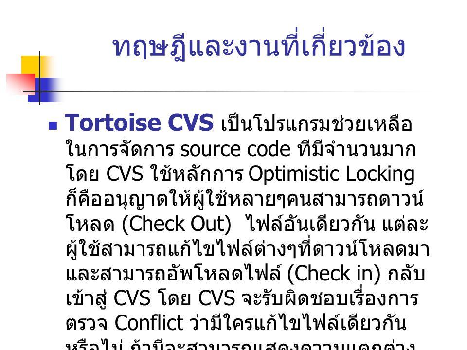 ทฤษฎีและงานที่เกี่ยวข้อง  Tortoise CVS เป็นโปรแกรมช่วยเหลือ ในการจัดการ source code ทีมีจำนวนมาก โดย CVS ใช้หลักการ Optimistic Locking ก็คืออนุญาตให้ผู้ใช้หลายๆคนสามารถดาวน์ โหลด (Check Out) ไฟล์อันเดียวกัน แต่ละ ผู้ใช้สามารถแก้ไขไฟล์ต่างๆที่ดาวน์โหลดมา และสามารถอัพโหลดไฟล์ (Check in) กลับ เข้าสู่ CVS โดย CVS จะรับผิดชอบเรื่องการ ตรวจ Conflict ว่ามีใครแก้ไขไฟล์เดียวกัน หรือไม่ ถ้ามีจะสามารถแสดงความแตกต่าง ระหว่างไฟล์ และ / หรือ การรวมไฟล์เข้า ด้วยกัน