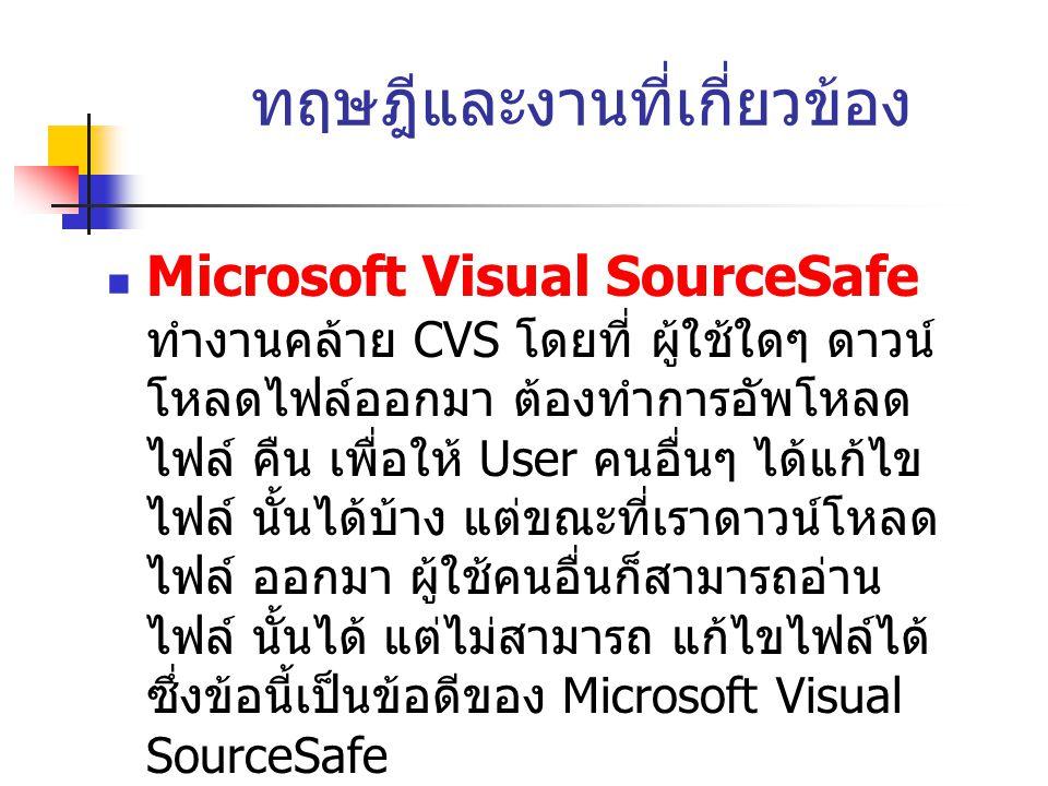 ทฤษฎีและงานที่เกี่ยวข้อง  Microsoft Visual SourceSafe ทำงานคล้าย CVS โดยที่ ผู้ใช้ใดๆ ดาวน์ โหลดไฟล์ออกมา ต้องทำการอัพโหลด ไฟล์ คืน เพื่อให้ User คนอื่นๆ ได้แก้ไข ไฟล์ นั้นได้บ้าง แต่ขณะที่เราดาวน์โหลด ไฟล์ ออกมา ผู้ใช้คนอื่นก็สามารถอ่าน ไฟล์ นั้นได้ แต่ไม่สามารถ แก้ไขไฟล์ได้ ซึ่งข้อนี้เป็นข้อดีของ Microsoft Visual SourceSafe