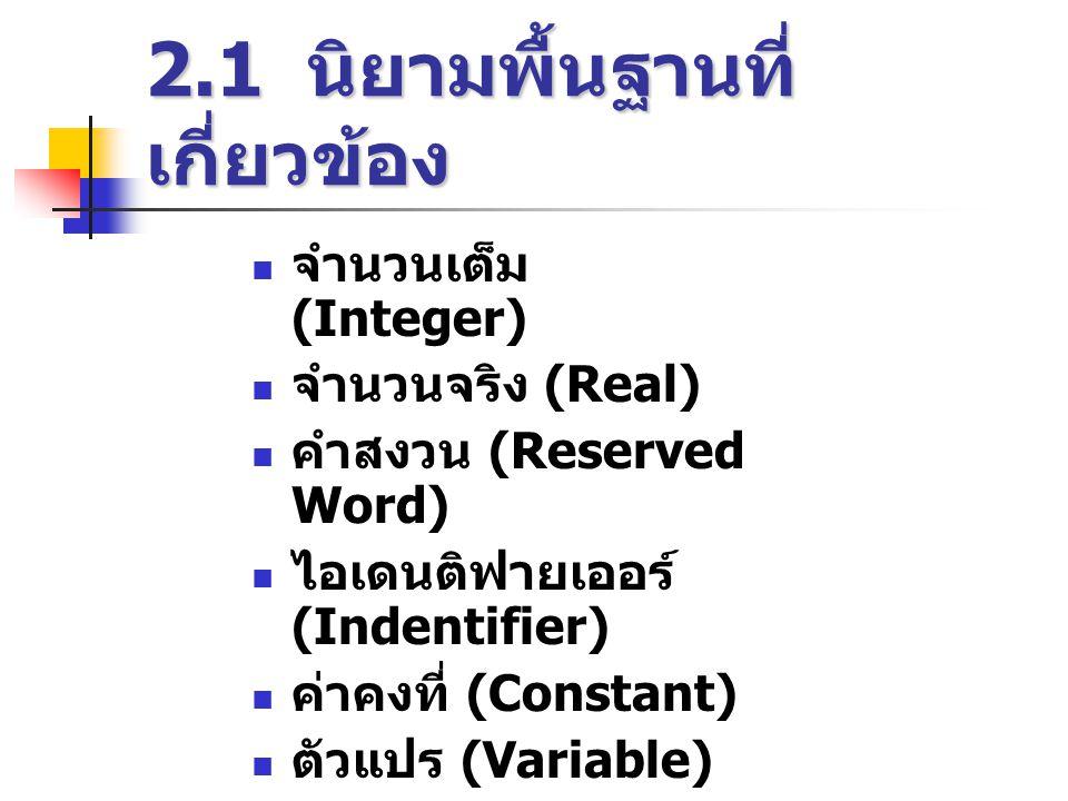 2.1 นิยามพื้นฐานที่ เกี่ยวข้อง  จำนวนเต็ม (Integer)  จำนวนจริง (Real)  คำสงวน (Reserved Word)  ไอเดนติฟายเออร์ (Indentifier)  ค่าคงที่ (Constant)  ตัวแปร (Variable)  นิพจน์ (Expression)