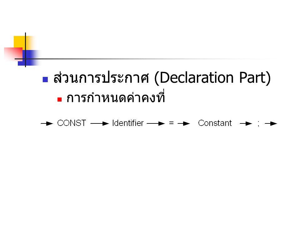  ส่วนการประกาศ (Declaration Part)  การกำหนดค่าคงที่