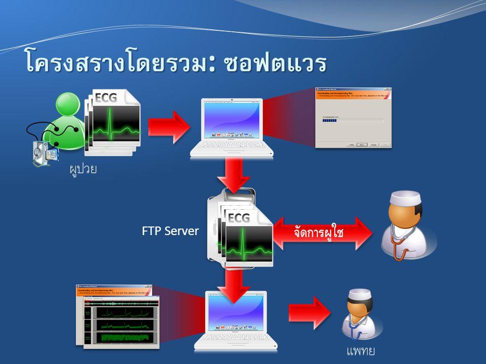 โครงสร้างโดยรวม : ซอฟต์แวร์ FTP Server ผู้ป่วย แพทย์ จัดการผู้ใช้