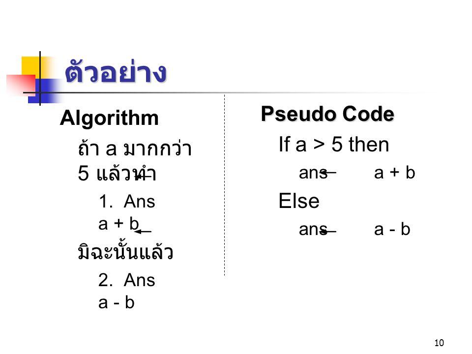 10 ตัวอย่าง Algorithm ถ้า a มากกว่า 5 แล้วทำ 1. Ans a + b มิฉะนั้นแล้ว 2. Ans a - b Pseudo Code If a > 5 then ans a + b Else ans a - b