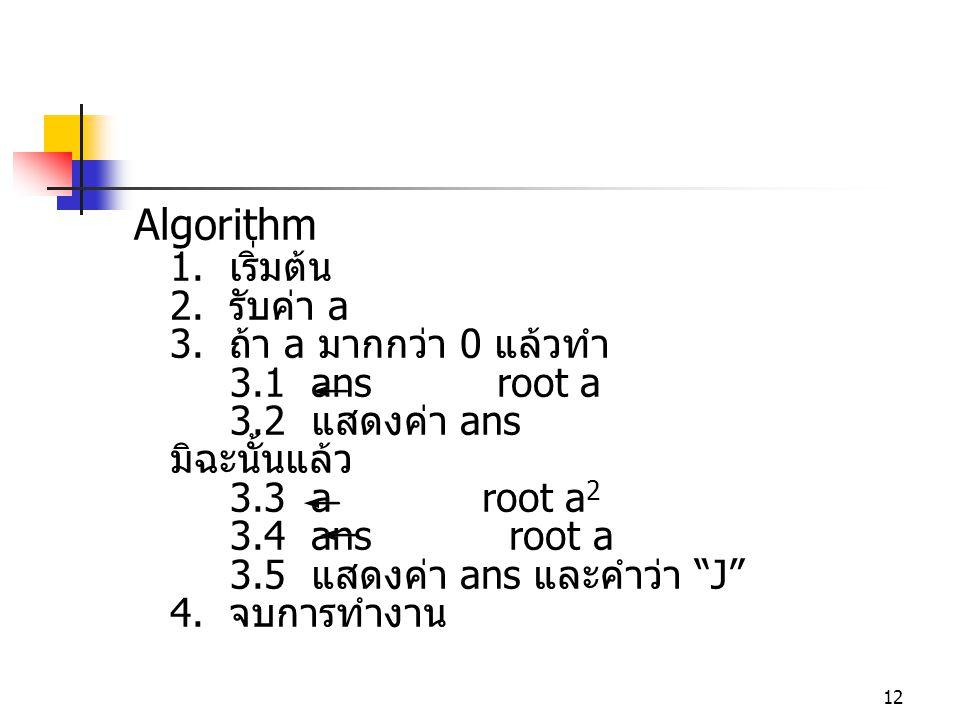 12 Algorithm 1. เริ่มต้น 2. รับค่า a 3. ถ้า a มากกว่า 0 แล้วทำ 3.1 ans root a 3.2 แสดงค่า ans มิฉะนั้นแล้ว 3.3 a root a 2 3.4 ans root a 3.5 แสดงค่า a