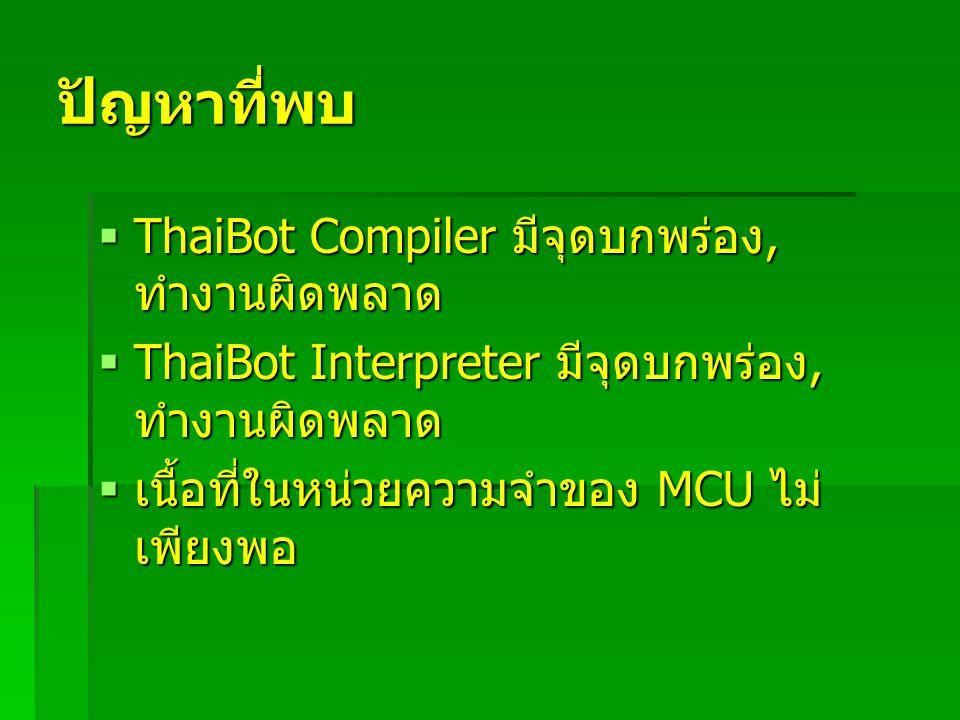 ปัญหาที่พบ  ThaiBot Compiler มีจุดบกพร่อง, ทำงานผิดพลาด  ThaiBot Interpreter มีจุดบกพร่อง, ทำงานผิดพลาด  เนื้อที่ในหน่วยความจำของ MCU ไม่ เพียงพอ