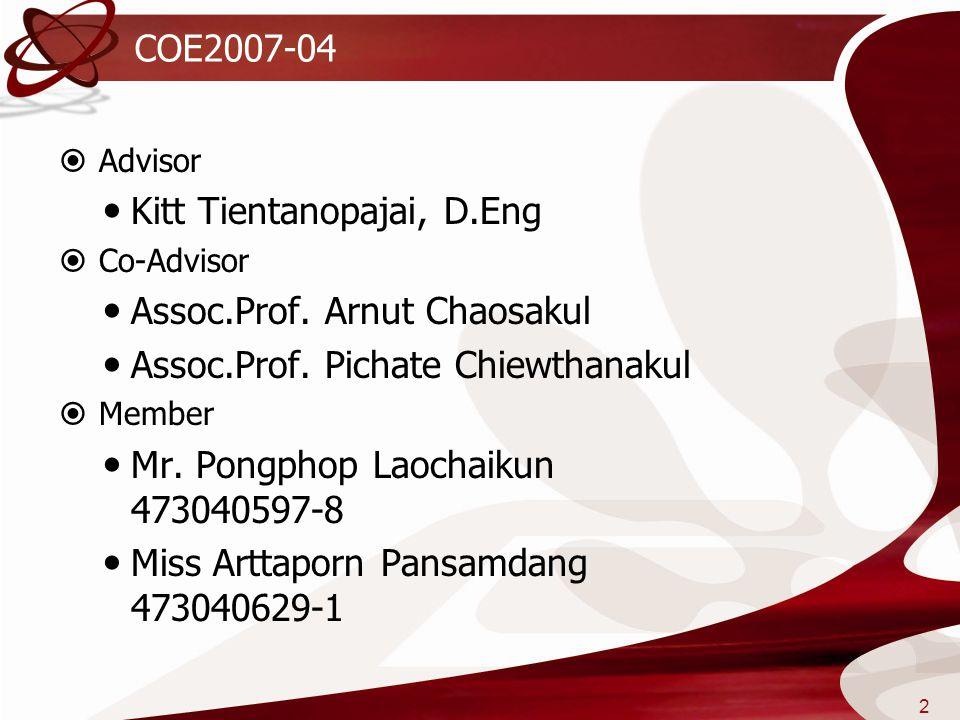 COE2007-04  Advisor  Kitt Tientanopajai, D.Eng  Co-Advisor  Assoc.Prof. Arnut Chaosakul  Assoc.Prof. Pichate Chiewthanakul  Member  Mr. Pongpho