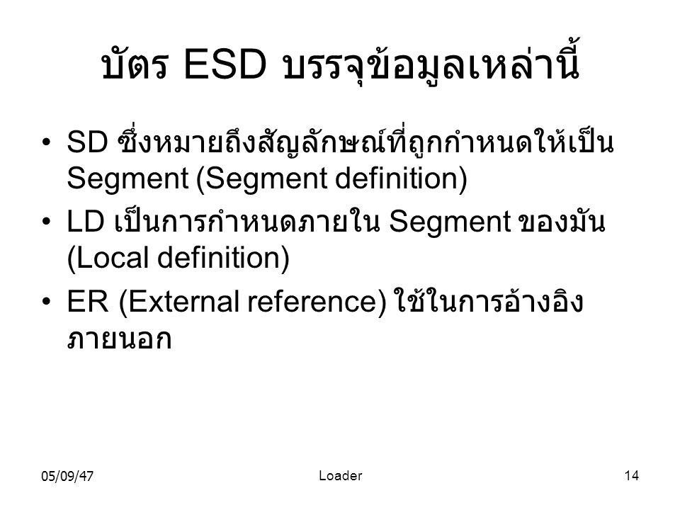 05/09/47Loader14 บัตร ESD บรรจุข้อมูลเหล่านี้ •SD ซึ่งหมายถึงสัญลักษณ์ที่ถูกกำหนดให้เป็น Segment (Segment definition) •LD เป็นการกำหนดภายใน Segment ของมัน (Local definition) •ER (External reference) ใช้ในการอ้างอิง ภายนอก