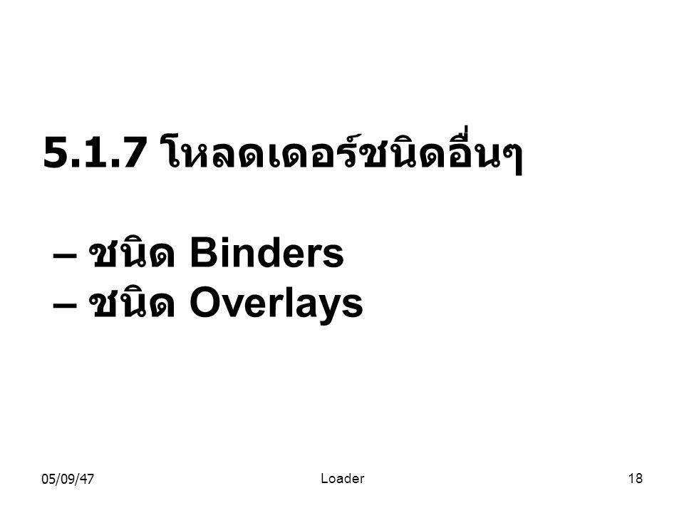 05/09/47Loader18 5.1.7 โหลดเดอร์ชนิดอื่นๆ – ชนิด Binders – ชนิด Overlays