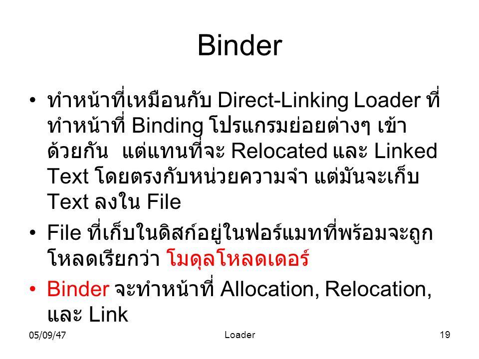 05/09/47Loader19 Binder • ทำหน้าที่เหมือนกับ Direct-Linking Loader ที่ ทำหน้าที่ Binding โปรแกรมย่อยต่างๆ เข้า ด้วยกัน แต่แทนที่จะ Relocated และ Linked Text โดยตรงกับหน่วยความจำ แต่มันจะเก็บ Text ลงใน File •File ที่เก็บในดิสก์อยู่ในฟอร์แมทที่พร้อมจะถูก โหลดเรียกว่า โมดุลโหลดเดอร์ •Binder จะทำหน้าที่ Allocation, Relocation, และ Link